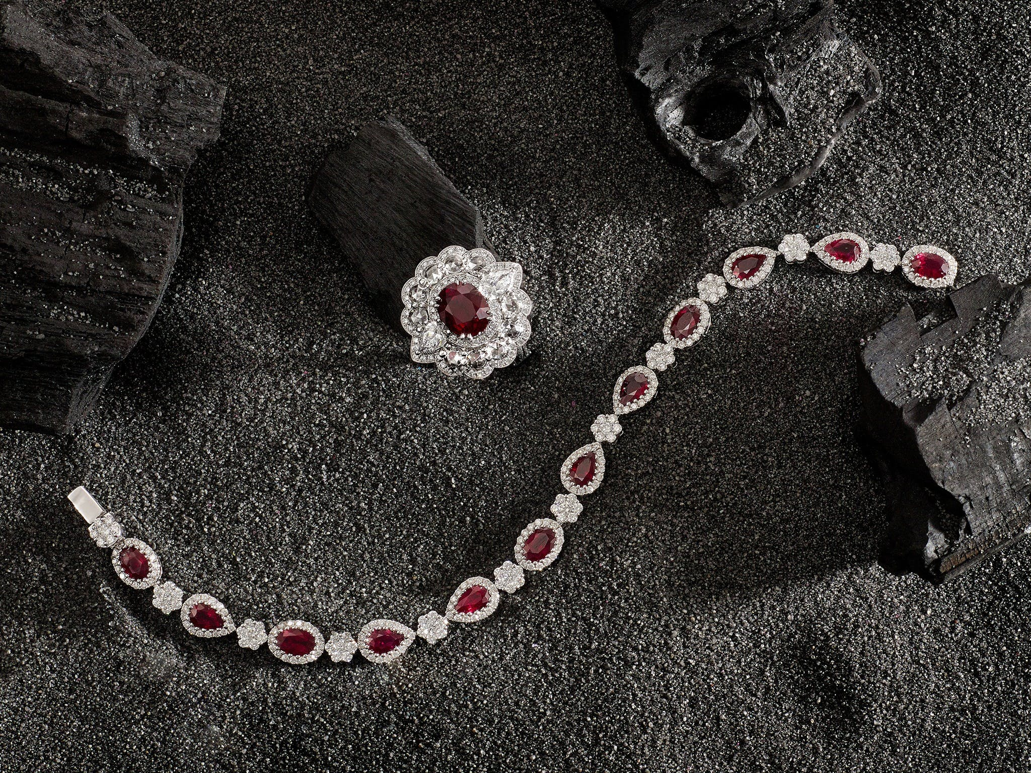 Ruby Imperatrice Ring and Ruby Bracelet