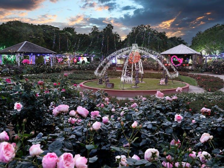 Rose Garden. Hunter Valley Gardens. Christmas Lights Spectacular.