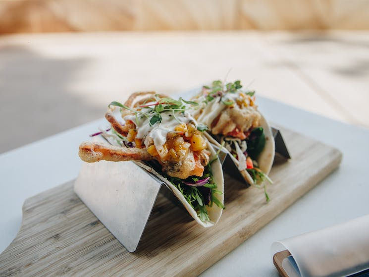 Soft Shell Crab Tacos at The Point Cafe Avoca Beach
