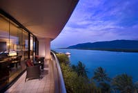 Stunning views from the large double balcony looking out over Trinity Inlet