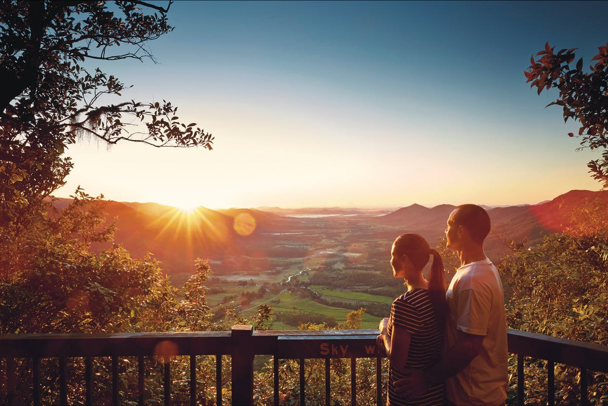Couple at Sky Window lookout with Pioneer Valley view.