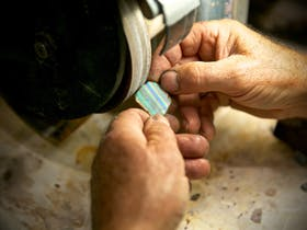 We do all our opal cutting in full view to the public.