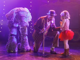 Elephant puppet and ring master entertain