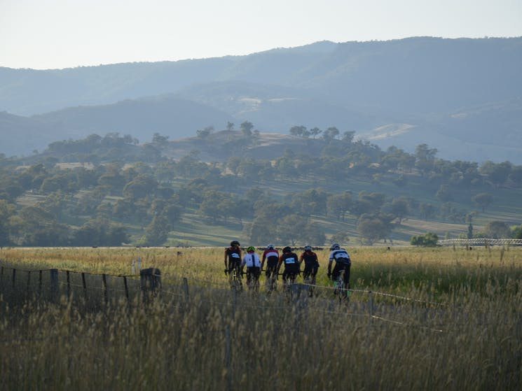 A group of riders, just outside Tumut, in the Snowy Valleys NSW