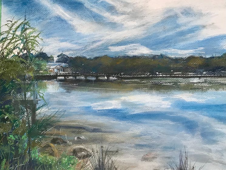 Old Bridge, Burrill Lake - painted by Yvonne Reilly