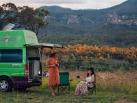 campervan with girls chatting