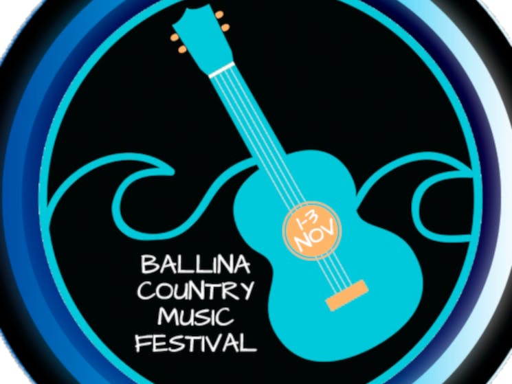 Ballina Country Music Festival logo of a guitar in front of waves