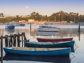 Boats on Macquarie Harbour in the early morning mist