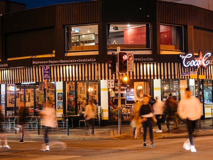 People dining at restaurants along Eat Street dining precinct in Parramatta