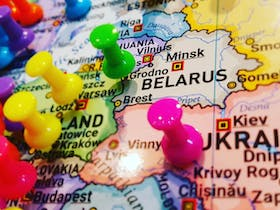 Coloured pins marking where visitors are from around the world, who have dined on a Crayfish meal.