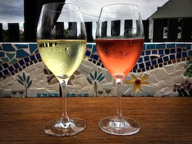 Wine and new courtyard mosaics.