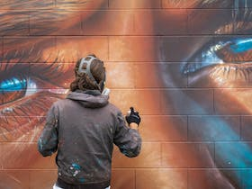 World famous street artist Adnate working on his collaboration with  local artist Vera Richards