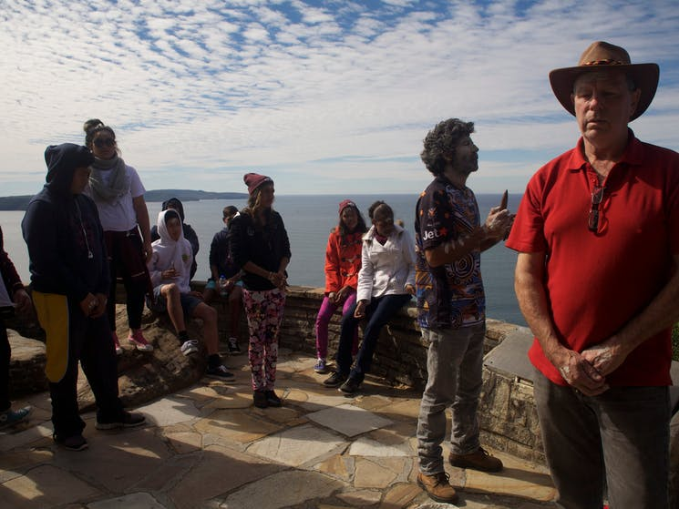 Tour guide summoning the spirits at West Head