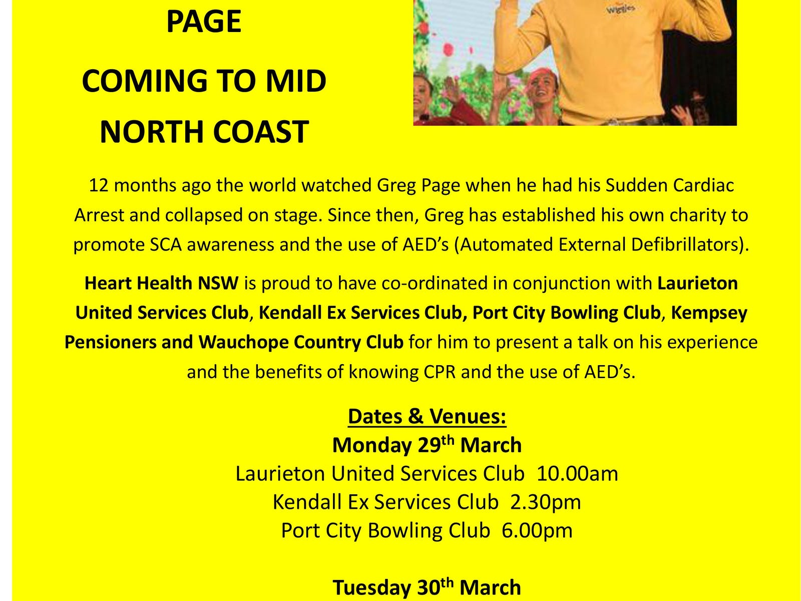 Image for Yellow Wiggle Greg Page - Experience Following his Sudden Cardiac Arrest