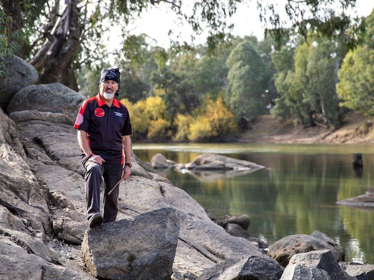 Bundyi Aboriginal Cultural Tours guide Mark Saddler by the Murrumbidgee River