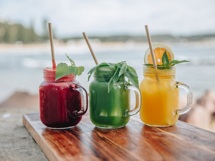 Freshly squeezed juices at The Point Cafe Avoca