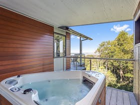 2 Person hot tub/spa on the private deck overlooking the forest