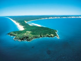 Aerial view of Double Island Point headland, Cooloola
