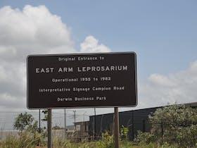 Sign indicating entrance to former Leprosarium along Berrimah Road.