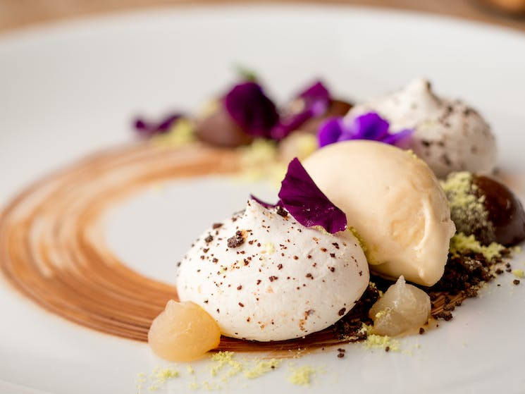 Chocolate filled pavlova, PX ice cream, ginger chocolate cups, lime and mint dust