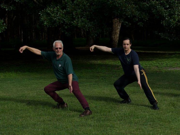 crouching single whip preparation posture