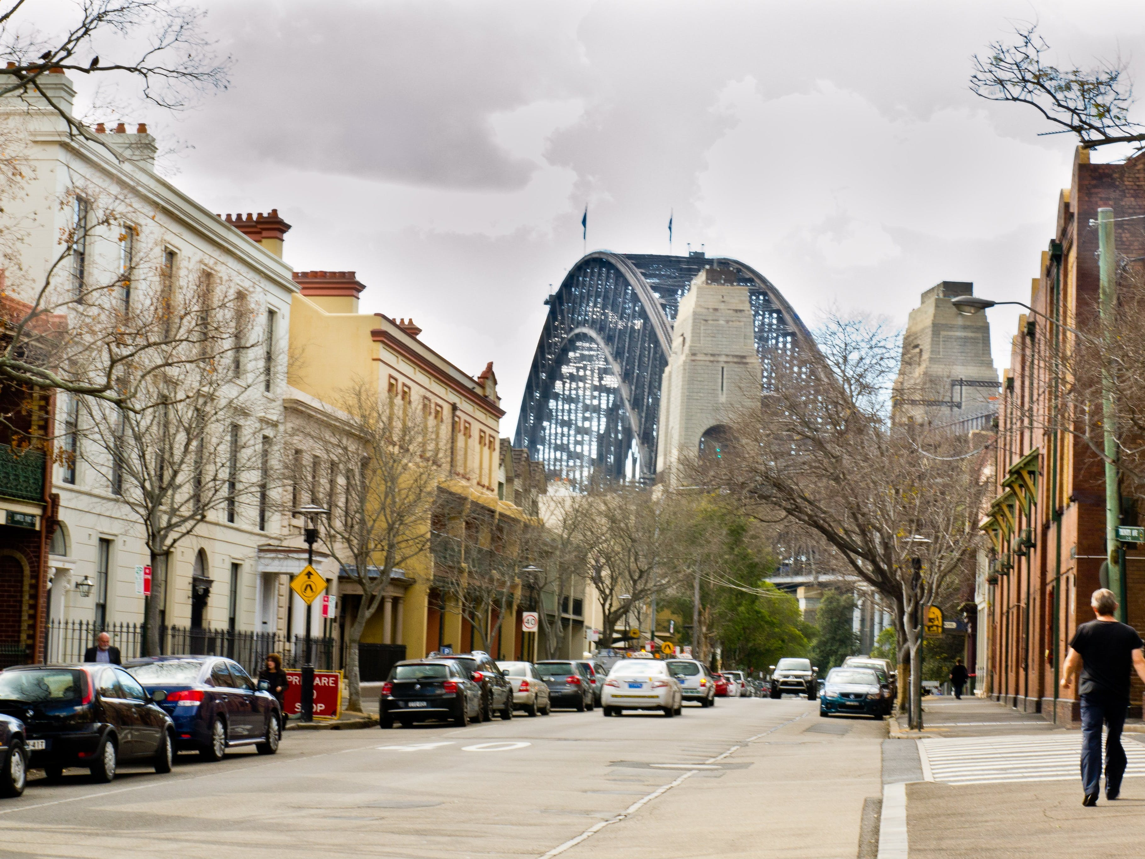 Sydney streets and harbour view
