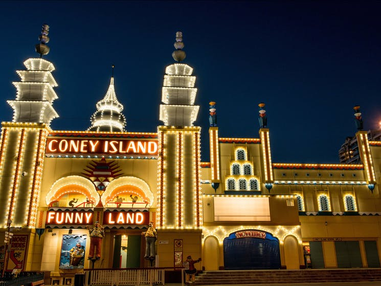 Coney Island at night time