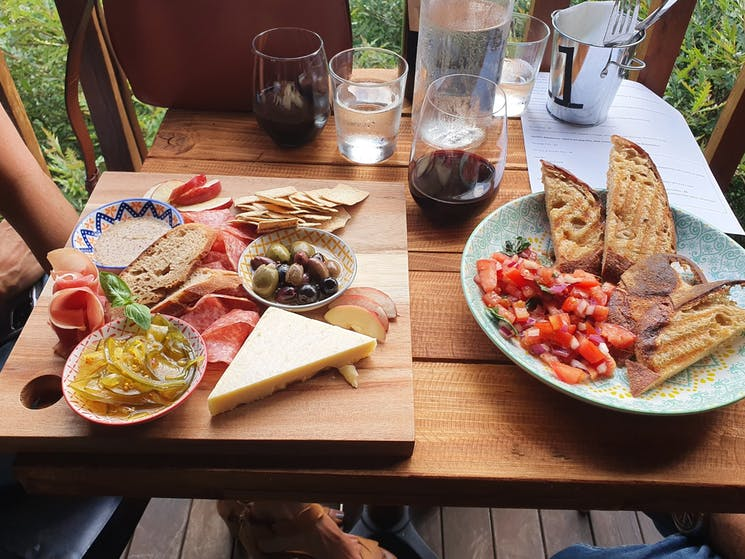 Our delicious charcuterie and bruschetta
