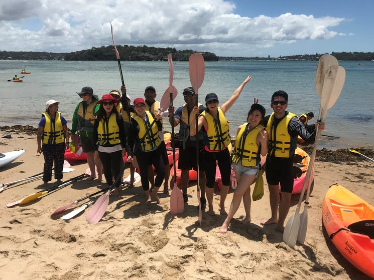 Group about to head out on kayaking tour at Bundeena in Sydney