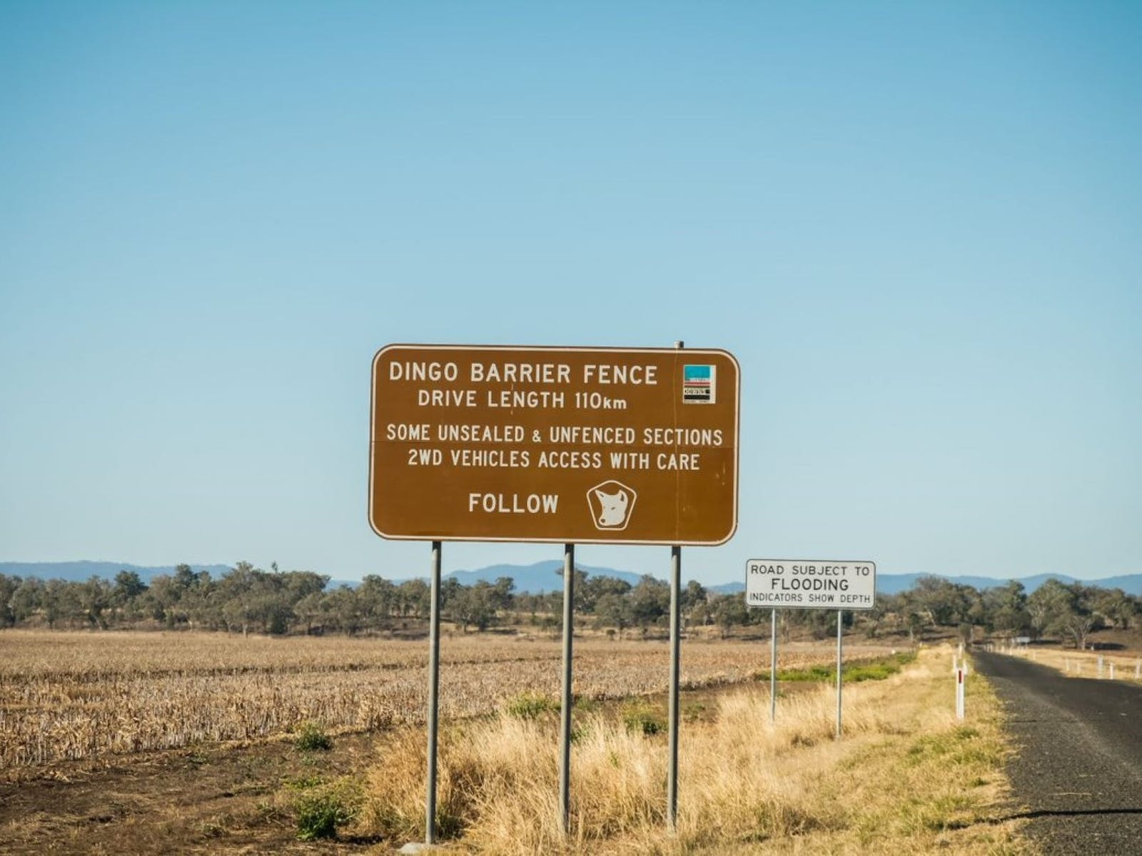 Drive length of the Dingo Barrier Fence - 110 km, combining sealed and unsealed roads.