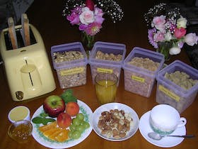Breakfast is placed in each guest room on the day before.