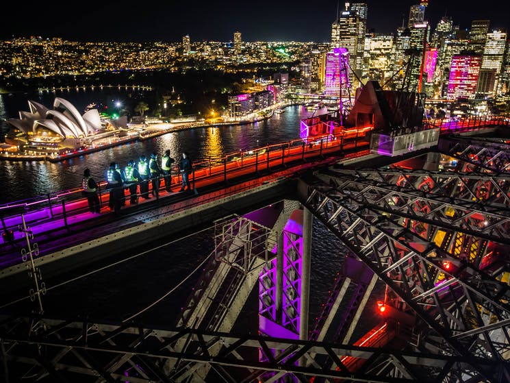 The Vivid lights from the top of the Bridge