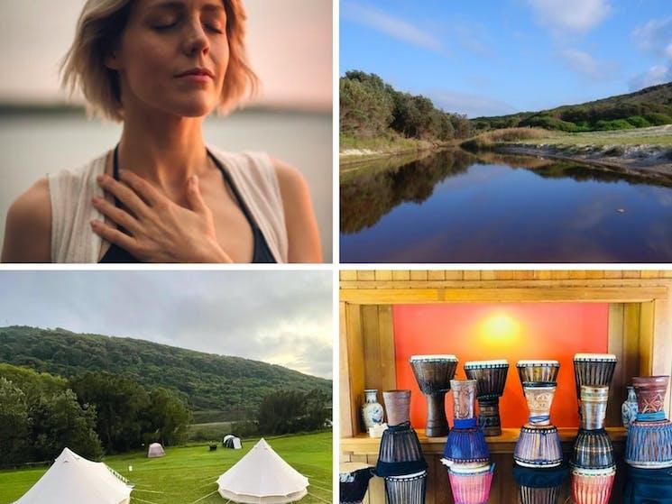 Meditation, Glenrock surroundings, campsite and drumming