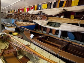 Display of small boats at the Maritime Museum