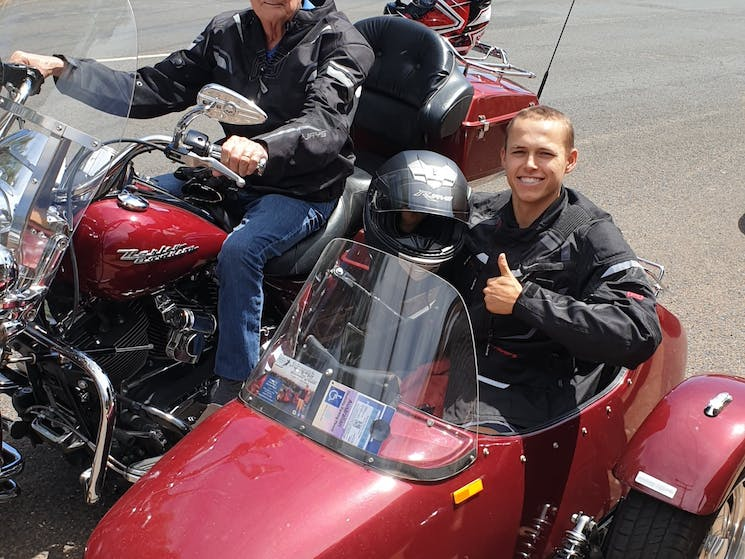 Bill on the Bike Lewis in the Sidecar