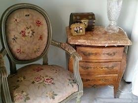 Antique chair, table and lamp