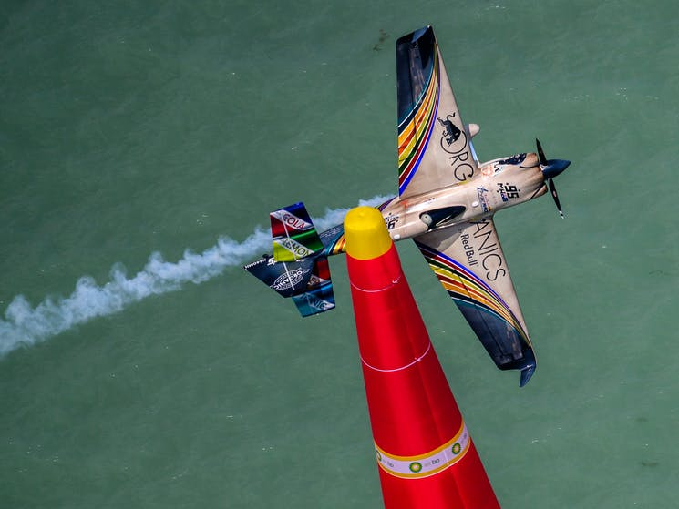 Matt Hall manœuvres his plane around a pylon during the 2019 Red Bull Air Race World Championship