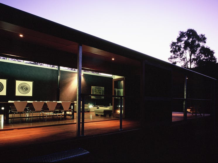 The Vintry Hunter Valley Accommodation in the evening. Self contained accommodation in Pokolbin
