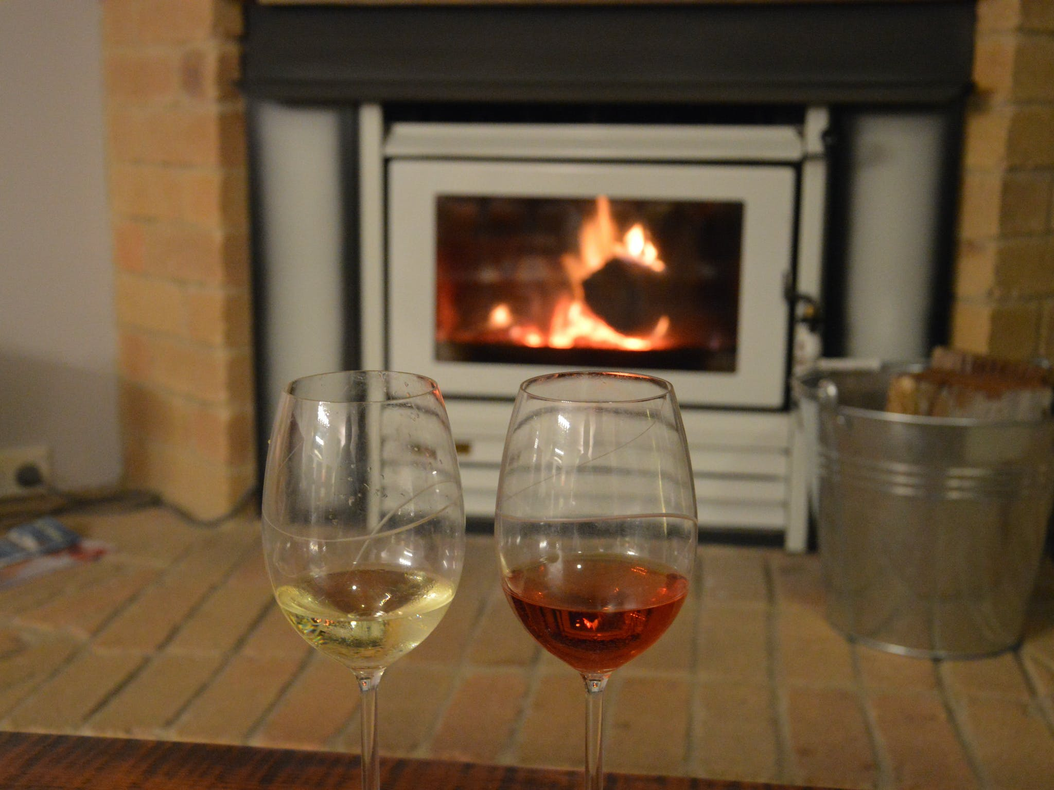 Shared fireplace in the lounge room of the BnB House, perfect for a wine on a cold night