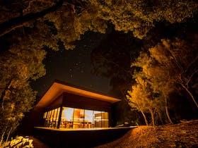The private central hub building in the Tasmanian bush