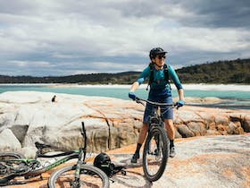 Bay of Fires beach. End of Bay of Fires trails. Four Day Experience.