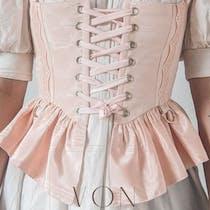 Shell pink silk corset, gold eyelets