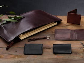 Angus Barrett's handmade Kangaroo Leather Collection featuring wallets, document and tablet case