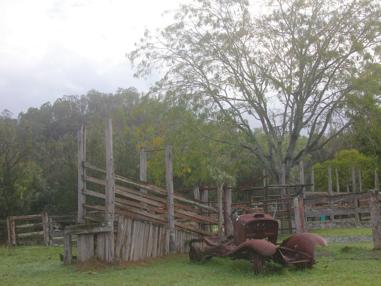 The old cattle yards from days gone past still sit alongside where the original homestead once stood