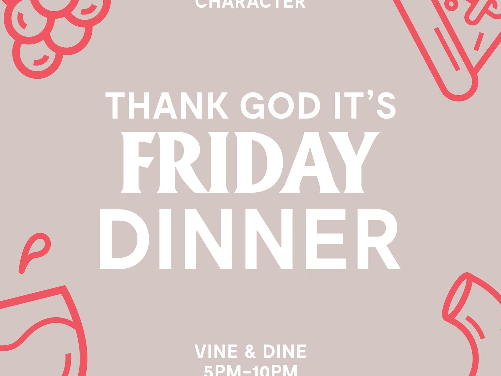 Image for Thank God It's Friday Dinner - Vine and Dine