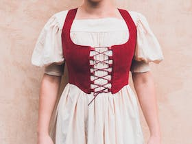 'Sorcha' Corset in Red Suede