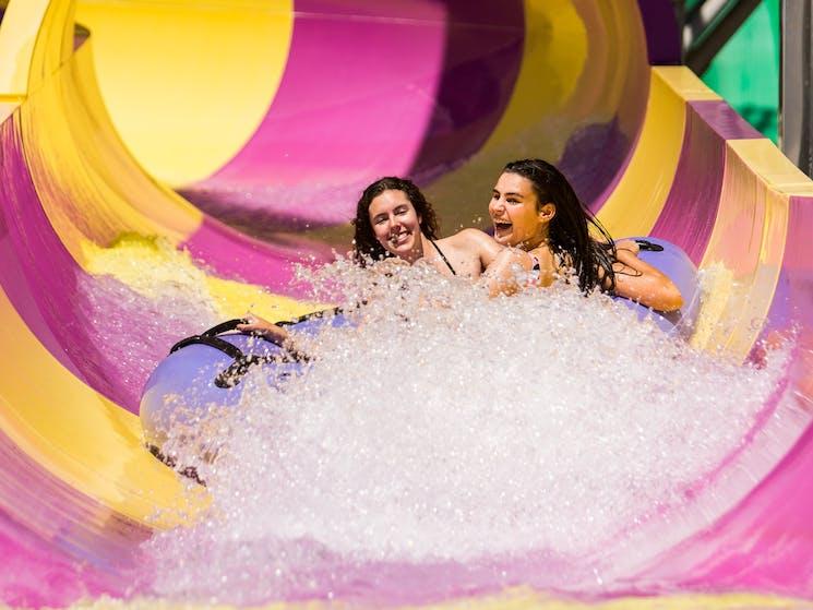 Two girls on slide
