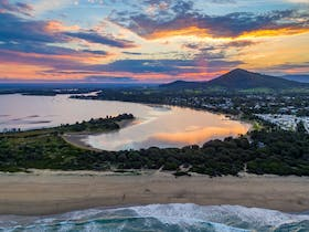 sunset, aerial, shoalhaven heads, river,