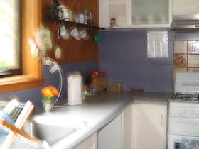 studio apartment kitchen with gas stove