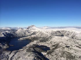 Flying over Cradle Mnt and Dove Lake in Winter